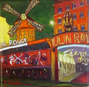 Moulin Rouge, 6x6, oil on canvas